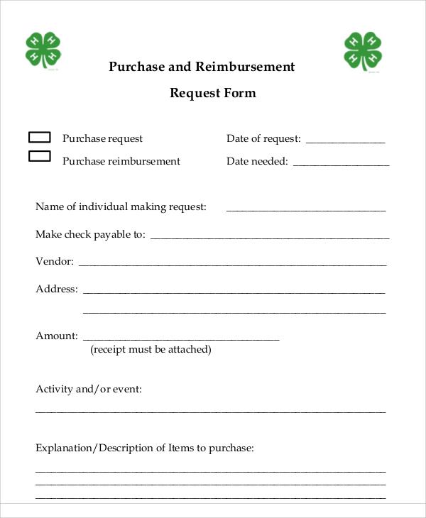 purchase and reimbursement request form