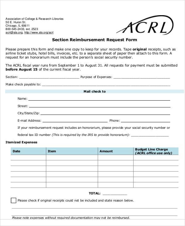 section reimbursement request form
