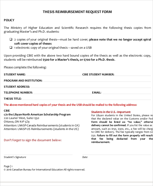 thesis reimbursement request form