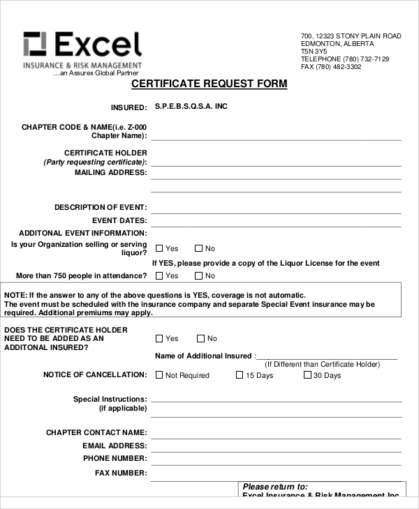 excel certificate request form