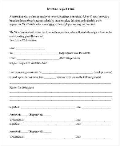 overtime work request form in pdf