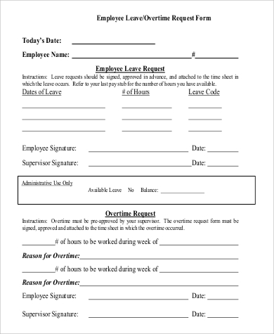 Sample Overtime Request Form  Examples In Word Pdf