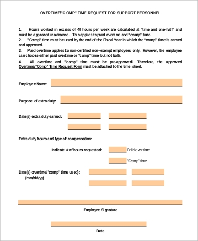 overtime request support form