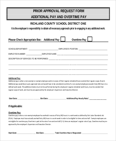 9 Sample Overtime Request Form