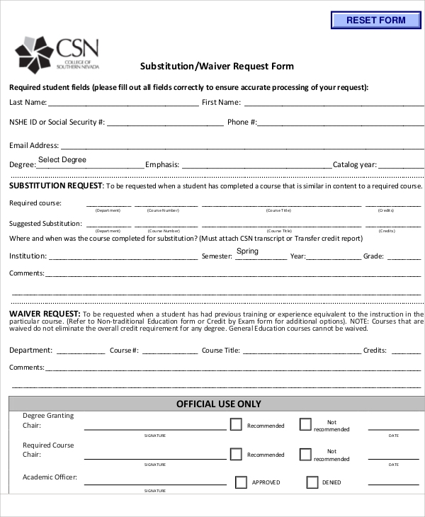 Sample Waiver Request Forms