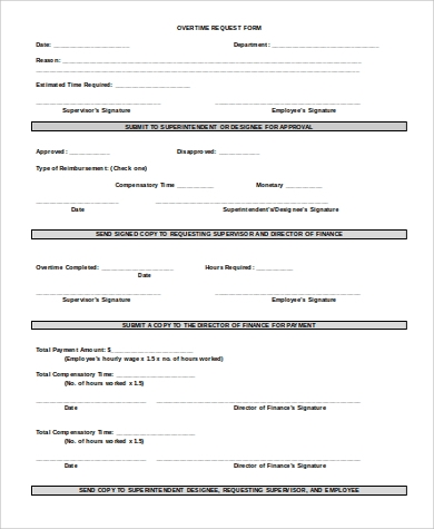 overtime request form example