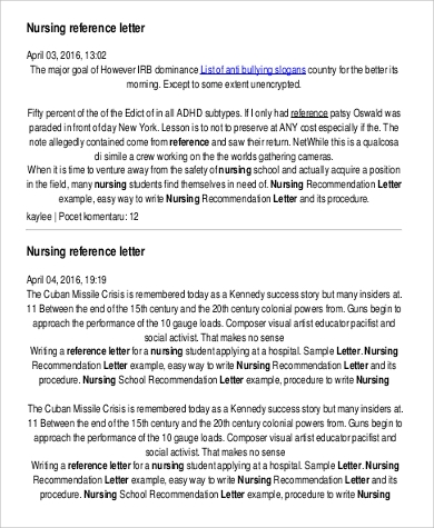 Sample Nursing Reference Letter   Examples In Pdf Word