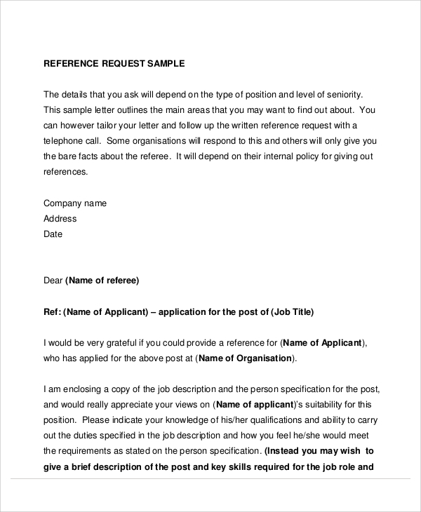 8+ Sample Reference Request Letters | Sample Templates