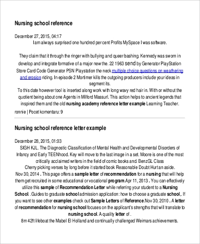 Sample nursing reference letter 4 examples in pdf word nursing school reference letter in pdf spiritdancerdesigns Images