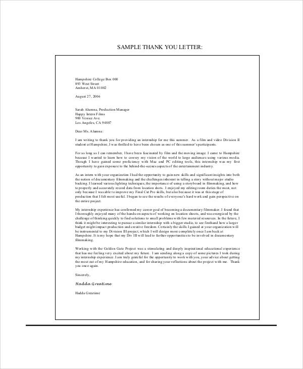 Ending Thank You Letters | Similiar End Internship Thank You Letter Keywords