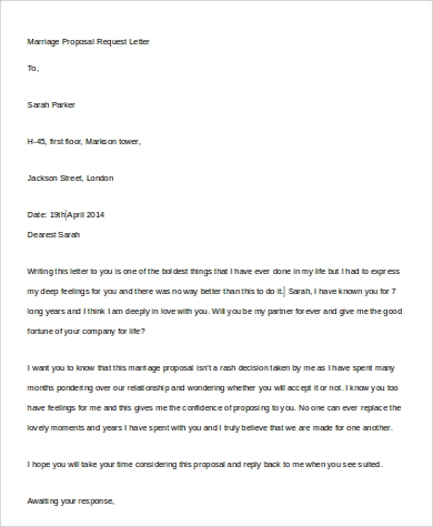marriage proposal request letter