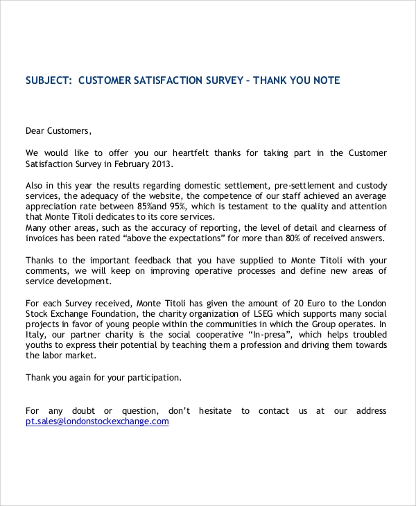 customer satisfaction letters