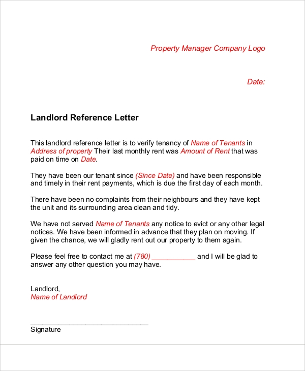 Sample Landlord Recommendation Letter  Free Sample Example