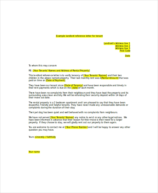 6+ Sample Landlord Recommendation Letter - Free Sample, Example