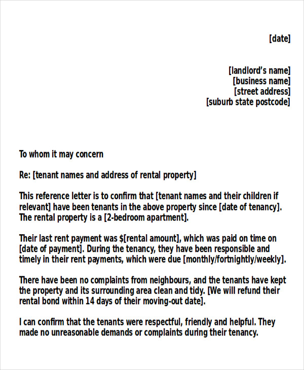 To Whom It May Concern Letter Of Recommendation For Tenant