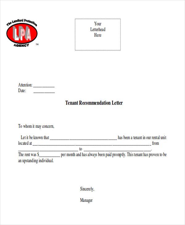 tenant recommendation letter format1