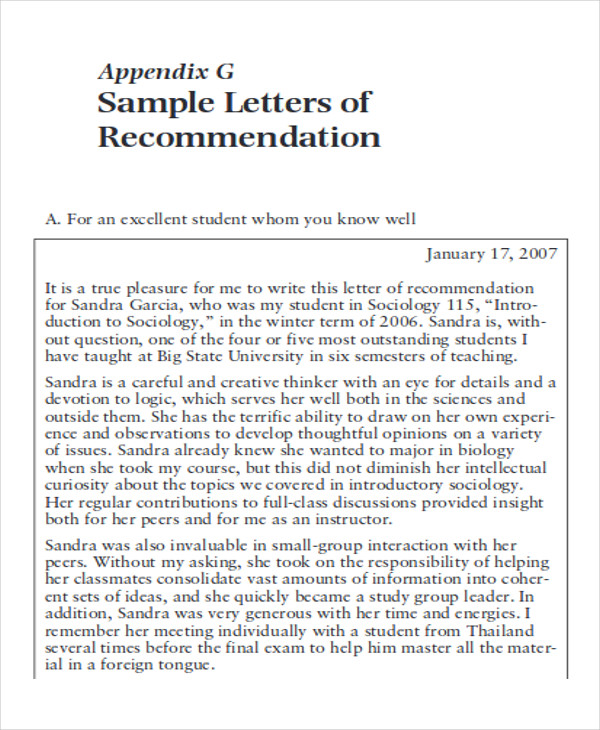 9  sample high school recommendation letter