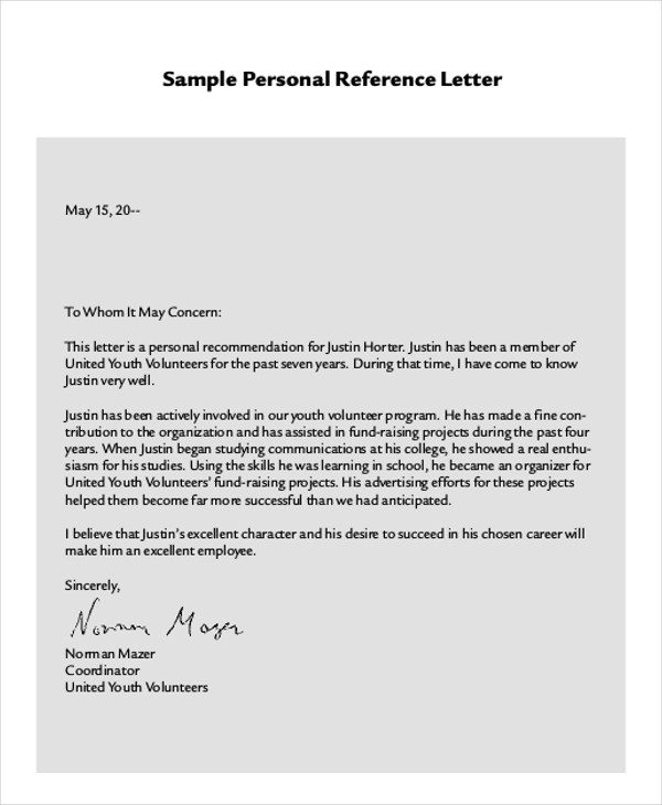 Sample Work Reference Letter Examples In Pdf Word