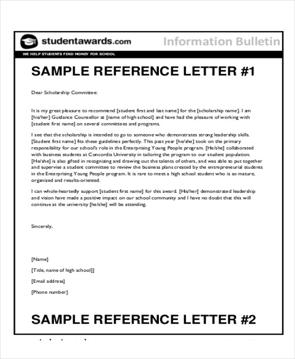 7 sample reference letter for students sample templates for Recommendation letter for student from teacher template
