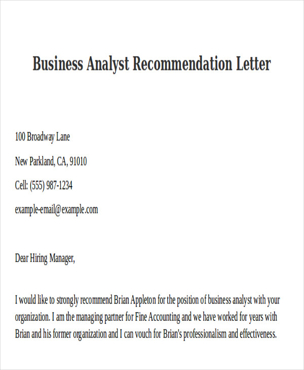 business analyst recommendation letter