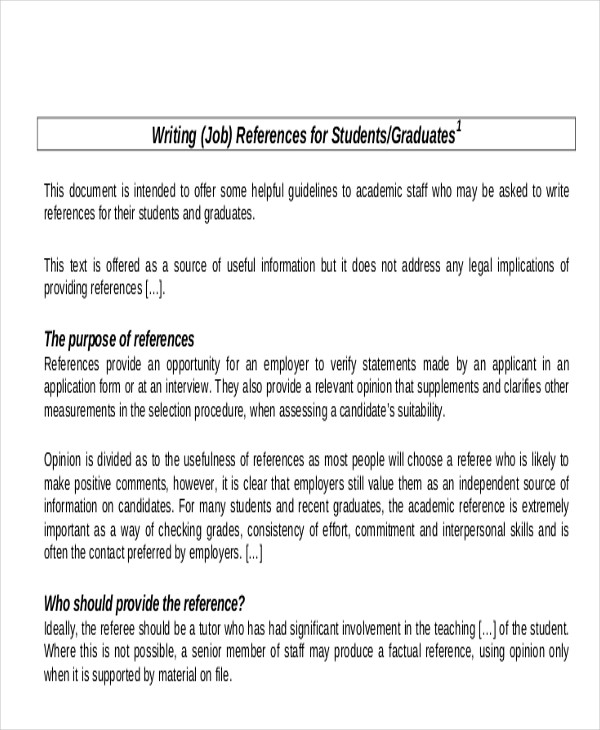 free sample reference letter for student in pdf