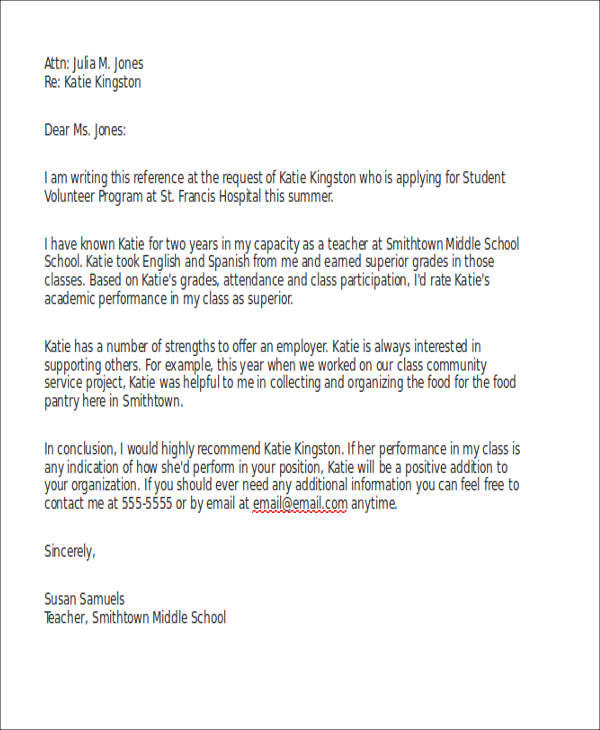 volunteer program reference letter for school student