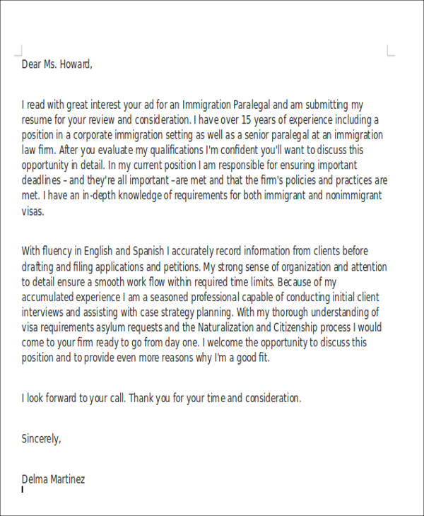 Immigration Legal Assistant Cover Letter