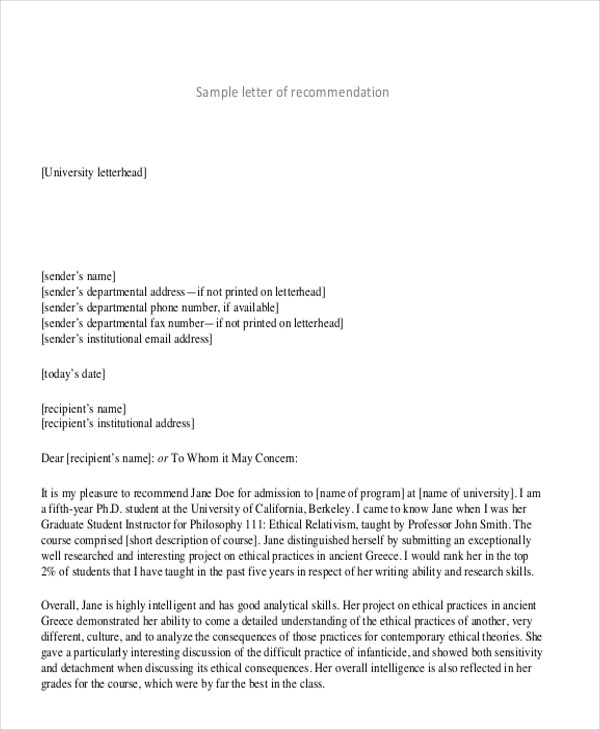 Generic recommendation letter sample
