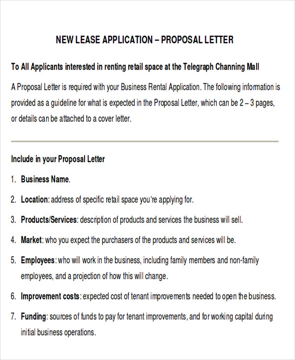 Sample Lease Proposal Letter   Examples In Pdf Word