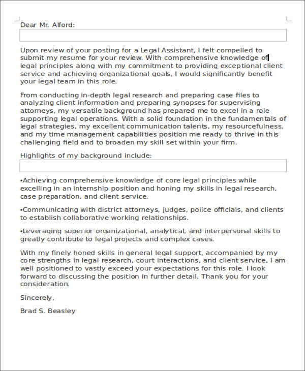 8+ Legal Assistant Cover Letter - Examples in Word, PDF
