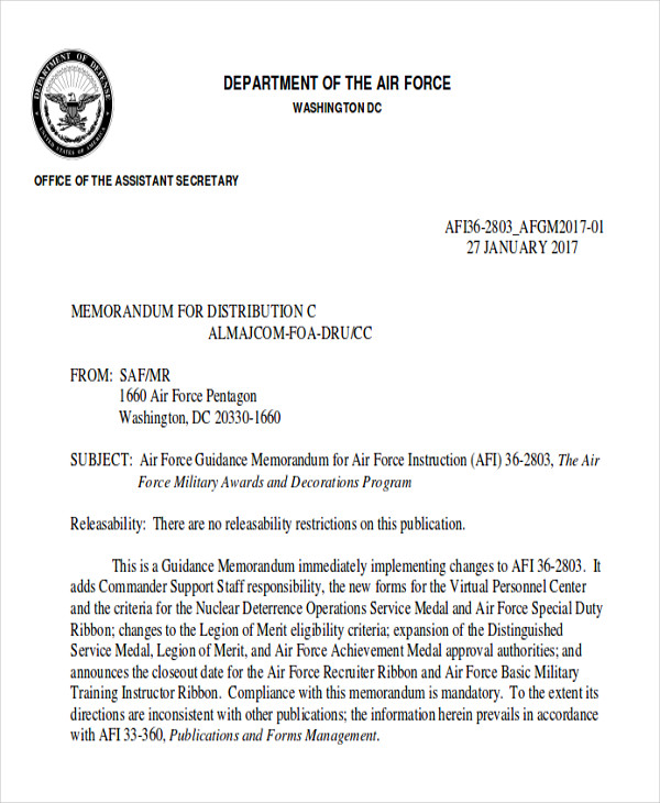 free air force award recommendation letter