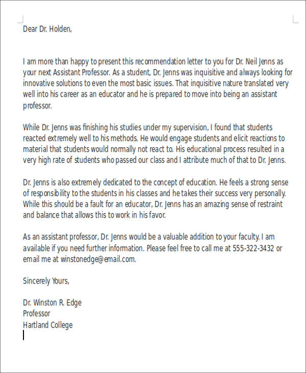 Letter Of Recommendation For College Teaching Position