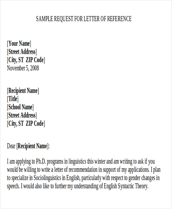 Sample Letter Requesting A Reference Reference Request Letter Sample