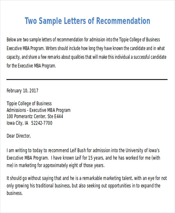 Sample Recommendation Request Letter  Free Sample Example