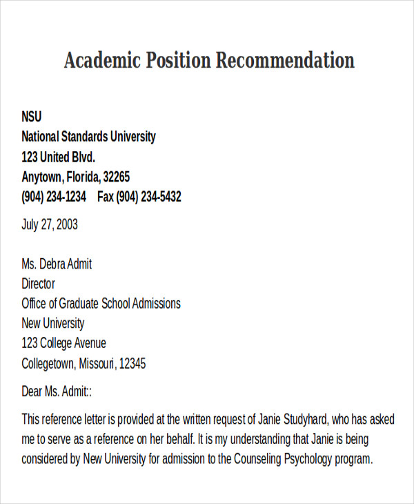 8 Sample Academic Recommendation Letter Free Sample Example