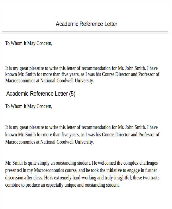 academic program recommendation letter format
