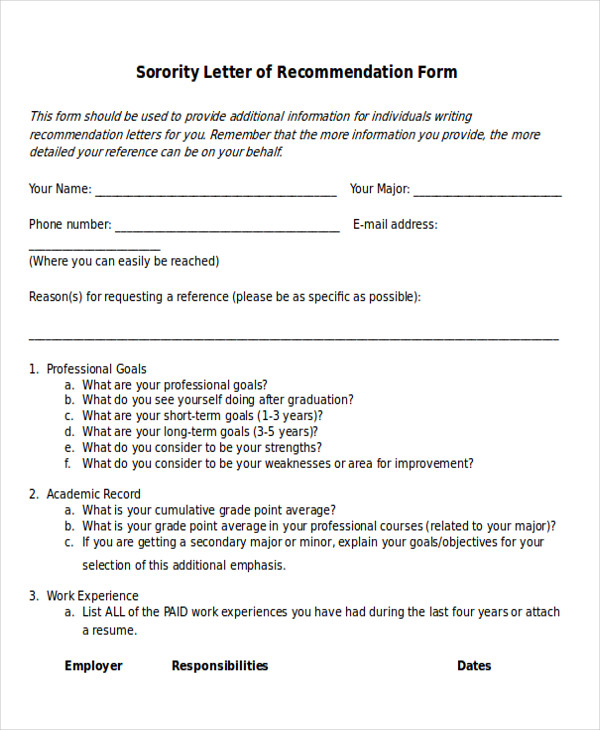 7+ Sample Sorority Recommendation Letter - Free Sample, Example