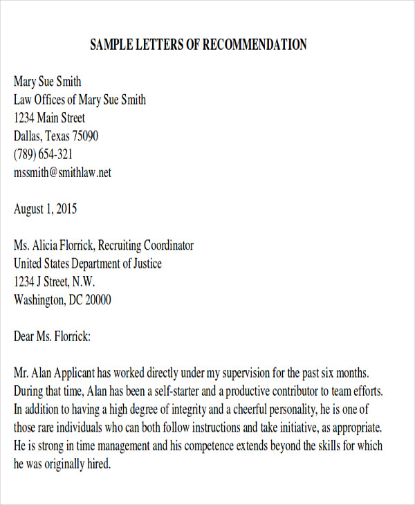 academic recommendation letter from employer