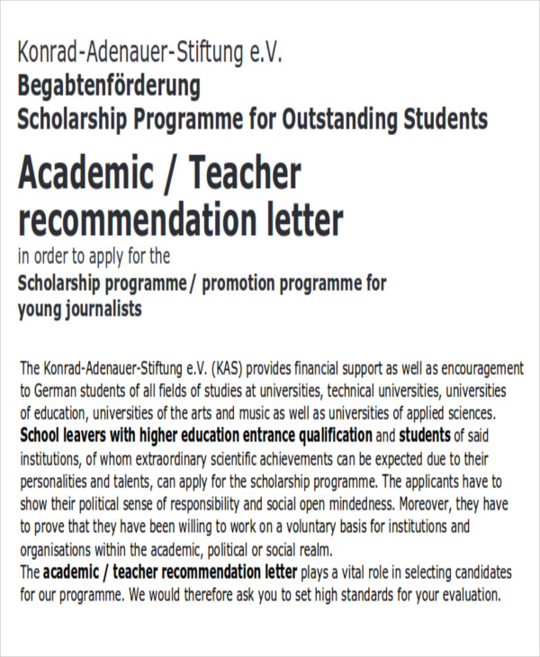 8  sample academic recommendation letter