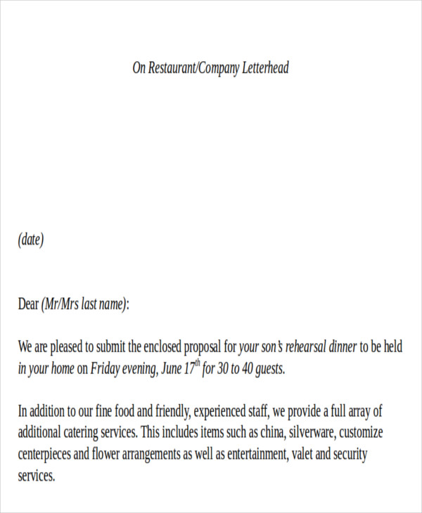 Sample Catering Proposal Letter 8 Examples in PDF Word – Catering Quote Template