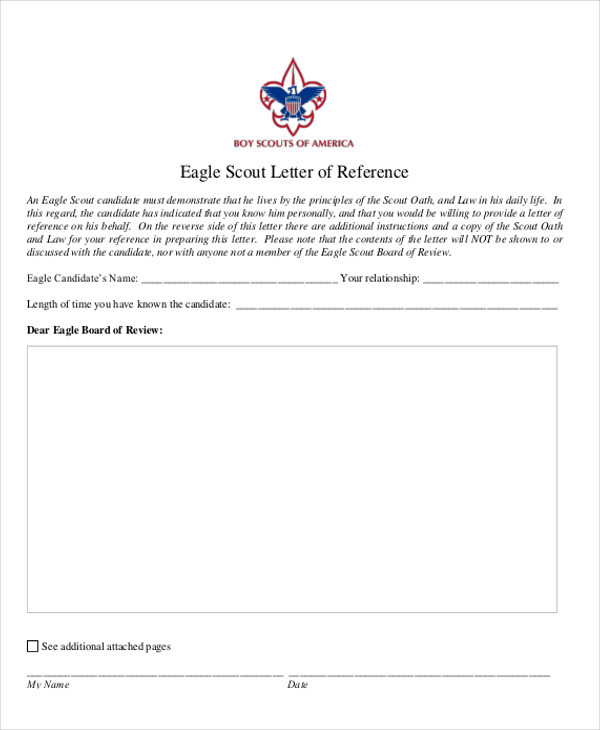 Eagle Scout Letter Of Recommendation Form Pdf
