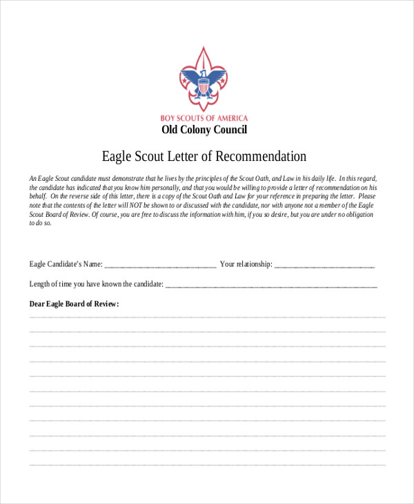 eagle scout letter of recommendation 9 sample eagle scout recommendation letter templates 1193
