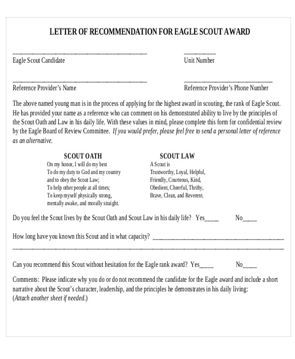 free 12  sample eagle scout recommendation letter templates in pdf