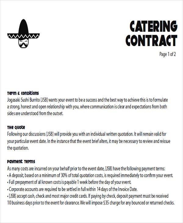 8 Sample Catering Proposal Letters Pdf Doc Sample Templates