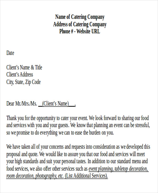 sample catering proposal letter 8 examples in pdf word