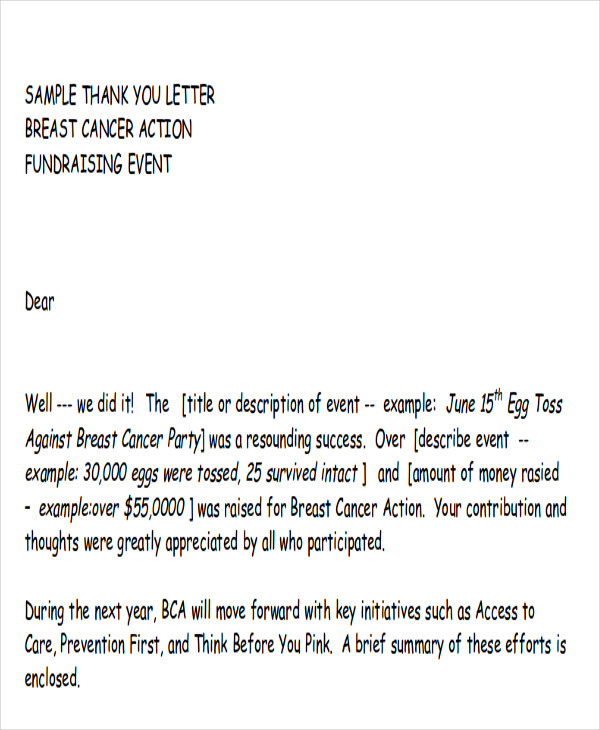 7+ Sample Fund-Raiser Thank-You Letter - Free Sample, Example
