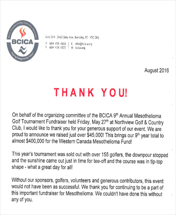 golf fundraiser thank you letter