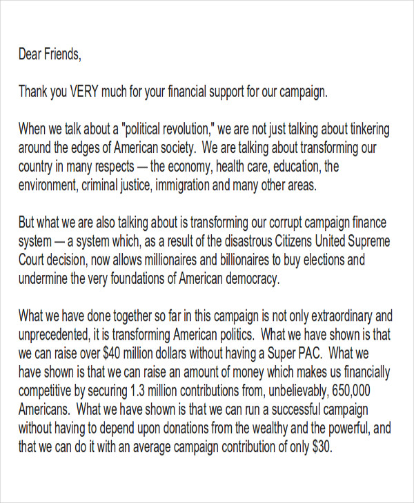 political fundraiser thank you letter