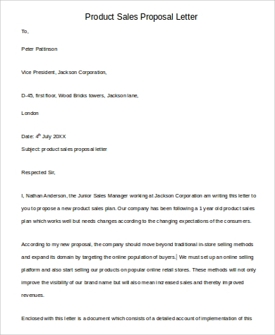 6 Sample Sales Proposal Letters Pdf Word