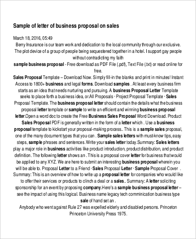 business proposal letter 6 sample sales letters pdf word sample 13306 | Business Sales Proposal Letter